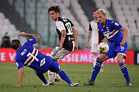 Karol Linetty of UC Sampdoria , Paulo Dybala of Juventus and Morten Thorsby of UC Sampdoria compete for the ball during the Serie A football match between Juventus FC and UC Sampdoria at Juventus stadium in Turin (Italy), July 26th, 2020. Play resumes behind closed doors following the outbreak of the coronavirus disease. <br /> Photo Federico Tardito / Insidefoto