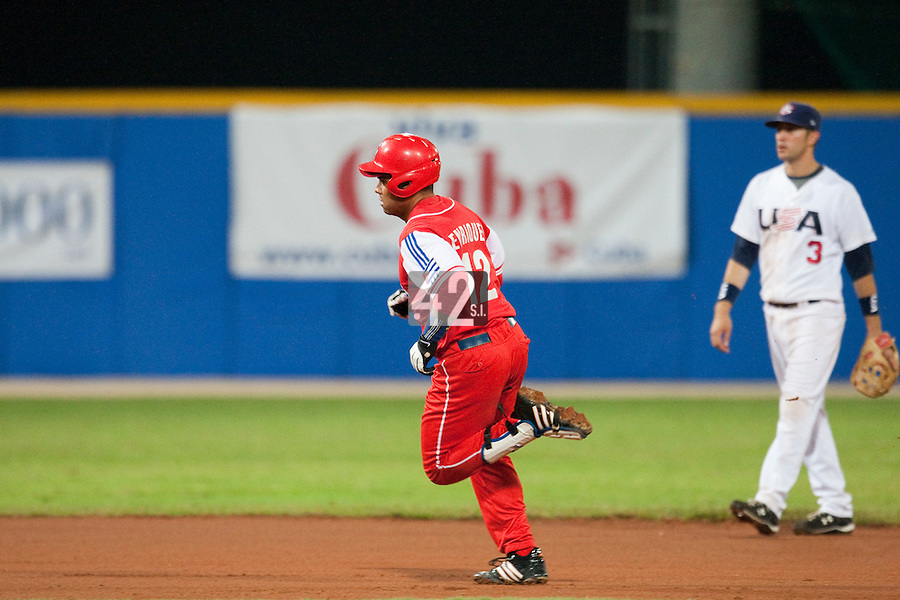 24 September 2009: Michel Enriquez of Cuba runs the bases as he hits a homerun during the 2009 Baseball World Cup final round match won 5-3 by Team USA over Cuba, in Nettuno, Italy.