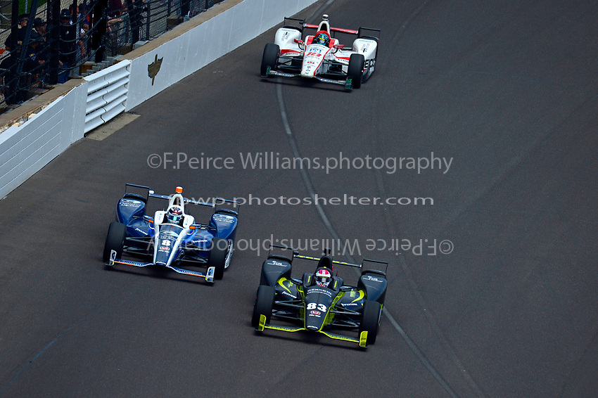 Verizon IndyCar Series<br /> Indianapolis 500 Race<br /> Indianapolis Motor Speedway, Indianapolis, IN USA<br /> Sunday 28 May 2017<br /> Max Chilton, Chip Ganassi Racing Teams Honda, Charlie Kimball, Chip Ganassi Racing Teams Honda, James Davison, Dale Coyne Racing Honda<br /> World Copyright: F. Peirce Williams<br /> LAT Images