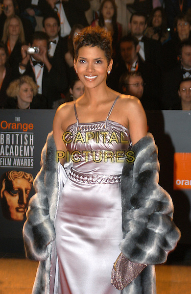 HALLE BERRY.The Orange British Film Academy Awards BAFTAS at Odeon Leicester Square.www.capitalpictures.com.sales@capitalpictures.com.© Capital Pictures.fur coat