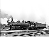 D&amp;RGW #472 K-28 left front view with plow on pilot.<br /> D&amp;RGW  Alamosa, CO  Taken by Richardson, Robert W. - 7/4/1941