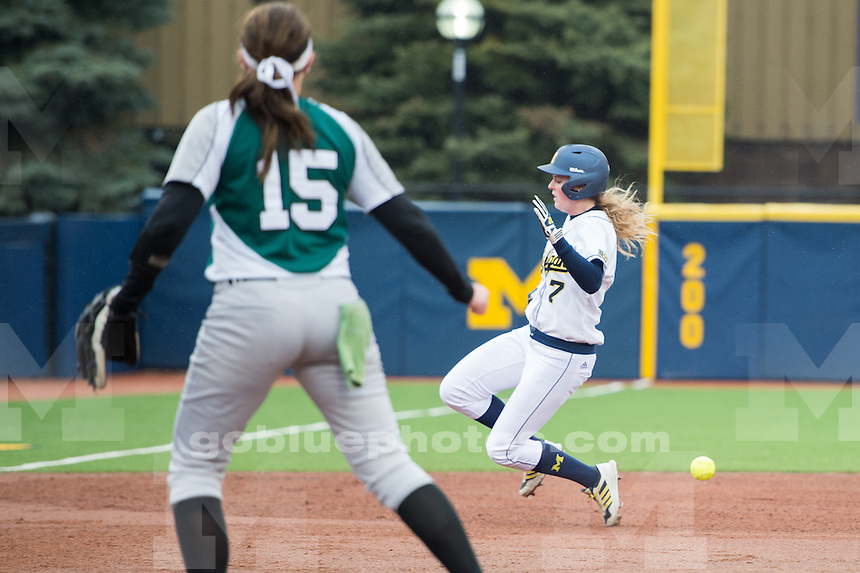 The University of Michigan softball team defeats Eastern Michigan, 11-1 (5 inn.), at the Wilpon Softball Complex in Ann Arbor, Mich. on April 7, 2015.