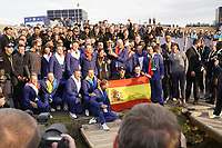 Team Europe celebrating on the 18th green after winning back the Ryder cup at Le Golf National, Iles-de-France, France. 30/09/2018.<br /> Picture Claudio Scaccini / Golffile.ie<br /> <br /> All photo usage must carry mandatory copyright credit (&copy; Golffile | Claudio Scaccini)