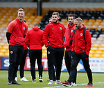Simon Moore, Jack O'Connell, Danny Lafferty and Matt Done of Sheffield Utd take in the atmosphere during the English League One match at Vale Park Stadium, Port Vale. Picture date: April 14th 2017. Pic credit should read: Simon Bellis/Sportimage
