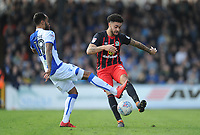 Bristol Rovers' Byron Moore vies for possession with Blackburn Rovers' Derrick Williams<br /> <br /> Photographer Ashley Crowden/CameraSport<br /> <br /> The EFL Sky Bet League One - Bristol Rovers v Blackburn Rovers - Saturday 14th April 2018 - Memorial Stadium - Bristol<br /> <br /> World Copyright &copy; 2018 CameraSport. All rights reserved. 43 Linden Ave. Countesthorpe. Leicester. England. LE8 5PG - Tel: +44 (0) 116 277 4147 - admin@camerasport.com - www.camerasport.com