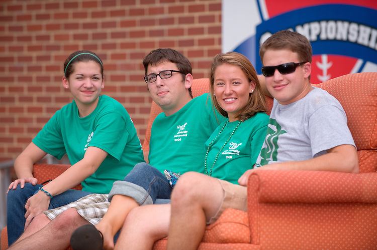 19058Homecoming 2008: Football Game OHIO vs. Virginia Military Institute. ..Couch sitters..Britney Gedeon(green head band), Jordan Bell(glasses), Andrea Dolenc(long light brown hair), and Tim Churchmack(sunglasses)