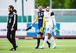 S&ouml;dert&auml;lje 2014-05-31 Fotboll Superettan Syrianska FC - &Auml;ngelholms FF :  <br /> &Auml;ngelholms Muamet Asanovski tillsammans med Syrianskas m&aring;lvakt Dejan Garaca efter matchen<br /> (Foto: Kenta J&ouml;nsson) Nyckelord:  Syrianska SFC S&ouml;dert&auml;lje Fotbollsarena &Auml;ngelholm &Auml;FF portr&auml;tt portrait