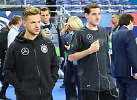 Joshua Kimmich (Deutschland, Germany) und Sebastian Rudy (Deutschland, Germany) kommen im Stadion an - 16.10.2018: Frankreich vs. Deutschland, 4. Spieltag UEFA Nations League, Stade de France, DISCLAIMER: DFB regulations prohibit any use of photographs as image sequences and/or quasi-video.
