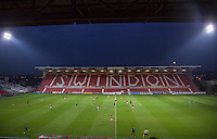 The crowds stay away from the Chelsea U23 delayed fixture during the The Checkatrade Trophy match between Swindon Town and Chelsea U23 at the County Ground, Swindon, England on 13 September 2016. Photo by Andy Rowland.