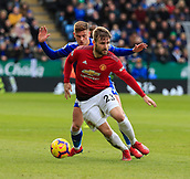 3rd February 2019, King Power Stadium, Leicester, England; EPL Premier League Football, Leicester City versus Manchester United; Luke Shaw of Manchester United controls the ball under pressure from Harvey Barnes of Leicester City