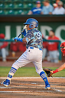 Kenneth Betancourt (9) of the Ogden Raptors squares to bunt against the Orem Owlz at Lindquist Field on August 3, 2018 in Ogden, Utah. The Raptors defeated the Owlz 9-4. (Stephen Smith/Four Seam Images)