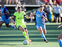 Seattle, WA - Saturday July 23, 2016: Manon Melis, Maddy Evans during a regular season National Women's Soccer League (NWSL) match between the Seattle Reign FC and the Orlando Pride at Memorial Stadium.