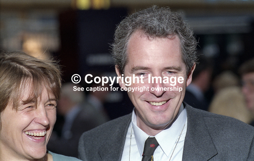 William Waldegrave, MP, Agriculture Minister, Conservative Party, UK, October, 1994, 199410004137. Pictured with wife, Caroline. <br /> <br /> Copyright Image from Victor Patterson, Belfast, UK, BT9 5HG<br /> <br /> t: +44 28 9066 1296 (from Rep of Ireland 048 9066 1296)<br /> m: +44 7802 353836<br /> <br /> victorpattersonbelfast@gmail.com<br /> www.victorpatterson.com<br /> <br /> Please see my Terms and Conditions of Use at https://www.victorpatterson.com/page2<br /> It is IMPORTANT that you familiarise yourself with them.<br /> <br /> Images used on the Internet incur an additional cost and must be visibly watermarked i.e. © Victor Patterson within the body of the image and copyright metadata must not be deleted. Images used on the Internet have a size restriction of 4kbs and are chargeable at rates available at victorpatterson.com.<br /> <br /> This image is only available for the use of the download recipient i.e. television station, newspaper, magazine, book publisher, etc, and must not be passed on to any third party. It is also downloaded on condition that each and every usage is notified within 7 days to victorpattersonbelfast@gmail.com.<br /> <br /> The right of Victor Patterson to be identified as the author is asserted in accordance with The Copyright Designs And Patents Act (1988). All moral rights are asserted.