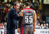 9th February 2018, Aleksandar Nikolic Hall, Belgrade, Serbia; Euroleague Basketball, Crvenz Zvezda mts Belgrade versus AX Armani Exchange Olimpia Milan; Head Coach Simone Pianigiani of AX Armani Exchange Olimpia Milan gives advices to Guard Curtis Jerrells of AX Armani Exchange Olimpia Milan
