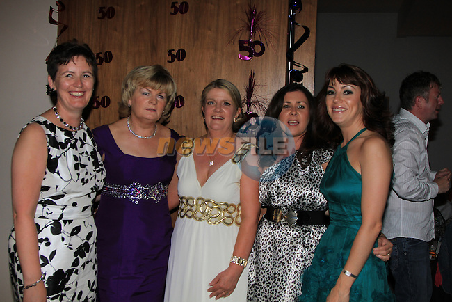 Mary Gormally centre 50th Birthday in the D Hotel with work friends, Brona Reilly, Deirdre Reid, Sharon McQuillan and Roisin McAuley..Picture Fran Caffrey/www.newsfile.ie