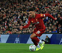 30th October 2019; Anfield, Liverpool, Merseyside, England; English Football League Cup, Carabao Cup, Liverpool versus Arsenal; Alex Oxlade-Chamberlain of Liverpool runs with the ball into the Arsenal penalty area - Strictly Editorial Use Only. No use with unauthorized audio, video, data, fixture lists, club/league logos or 'live' services. Online in-match use limited to 120 images, no video emulation. No use in betting, games or single club/league/player publications