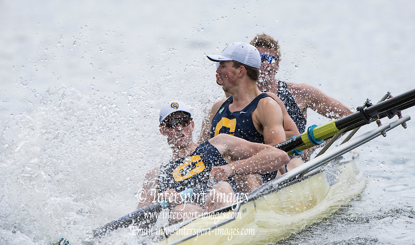 Henley on Thames. United Kingdom. Final of the Vistors' Challange Cup.  University of California. Berkley USA catch's a boat stopping crab allowing Thames RC to go through and win the final.   Sunday,  03/07/2016,      2016 Henley Royal Regatta, Henley Reach.   [Mandatory Credit Peter Spurrier/