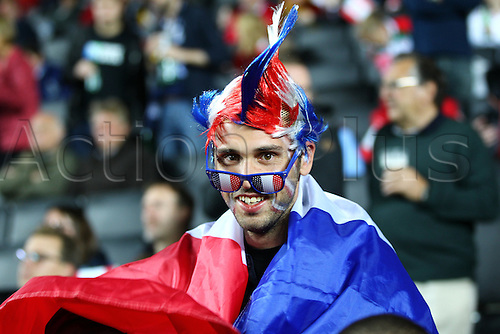 01.10.2015. Milton Keynes, England. Rugby World Cup. France versus Canada.  French supporters greet their team during the captains run.
