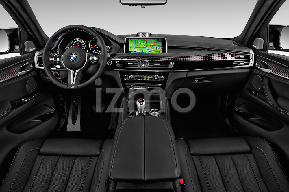 Stock photo of straight dashboard view of a 2018 BMW X6 M 4 Door SUV