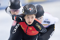 1st February 2019, Dresden, Saxony, Germany; World Short Track Speed Skating; 1000 meters women in the EnergieVerbund Arena. Xiran Wang from China runs in a bend.