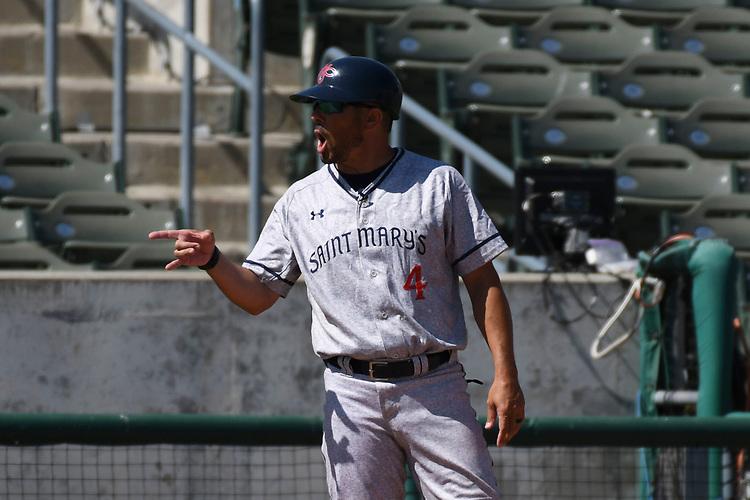 May 25, 2017; Stockton, CA, USA; Saint Mary's Gaels third base coach Matt Fonteno during the WCC Baseball Championship at Banner Island Ballpark.