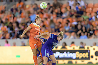 Amber Brooks (12) of the Houston Dash wins a header over Becky Edwards (14) of the Orlando Pride on Friday, May 20, 2016 at BBVA Compass Stadium in Houston Texas. The Orlando Pride defeated the Houston Dash 1-0.