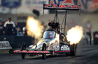 Oct. 5, 2012; Mohnton, PA, USA: NHRA top fuel dragster driver Steve Torrence during qualifying for the Auto Plus Nationals at Maple Grove Raceway. Mandatory Credit: Mark J. Rebilas-