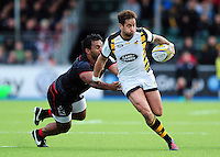 Danny Cipriani of Wasps looks to get past Billy Vunipola of Saracens. Aviva Premiership match, between Saracens and Wasps on October 9, 2016 at Allianz Park in London, England. Photo by: Patrick Khachfe / JMP