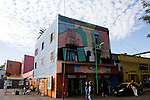 "Buenos Aires, Argentina - Homes and stores are colorfully painted in the ""La Boca"" section of Buenos Aires"