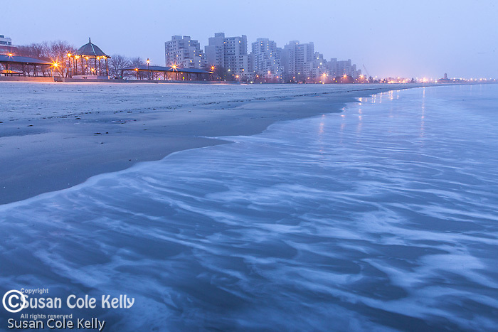 A foggy dawn on Revere Beach, Revere, Massachusetts, USA