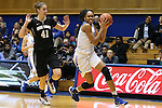 07 January 2016: Duke's Azura Stevens (right) and Wake Forest's Elisa Penna (41). The Duke University Blue Devils hosted the Wake Forest University Demon Deacons at Cameron Indoor Stadium in Durham, North Carolina in a 2015-16 NCAA Division I Women's Basketball game. Duke won the game 95-68.