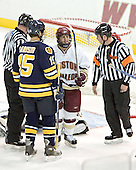 Hank Carisio, Nathan Gerbe, Jeff Bunyon - Boston College defeated Merrimack College 3-0 with Tim Filangieri's first two collegiate goals on November 26, 2005 at Kelley Rink/Conte Forum in Chestnut Hill, MA.