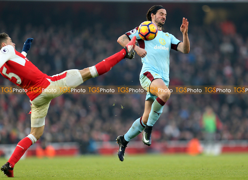 George Boyd of Burnley and Gabriel Paulista of Arsenal during Arsenal vs Burnley, Premier League Football at the Emirates Stadium on 22nd January 2017