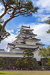 Photo shows Tsuruga-jo castle in Aizuwakamatsu City, Fukushima Prefecture, Japan.  Photographer: Rob Gilhooly
