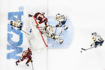 ST PAUL, MN - APRIL 7: Bo Brauer #29 of the Notre Dame Fighting Irish clears the puck against the Minnesota-Duluth Bulldogs during the Division I Men's Ice Hockey Championship held at the Xcel Energy Center on April 7, 2018 in St Paul, Minnesota. (Photo by Tim Nwachukwu/NCAA Photos via Getty Images)