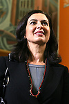 Italian President of the Chamber of Deputies Laura Boldrini attends a meeting at the Festival of Economics, in Trento, on May 31, 2013.  <br />