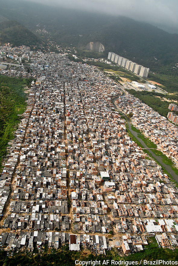 Aerial view of Favela Rio das Pedras in Jacarepagua district, one of the largest of the city.
