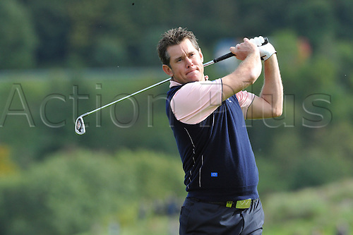 30.09.2010 Lee Westwood (ENG) of Europe  in action during practice at the Ryder Cup 2010 course, Celtic Manor resort, Newport, Wales on the third practice day of  the Ryder Cup 2010 between Europe v USA