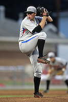 Aberdeen Ironbirds pitcher Blake Mechaw (27) during a game vs. the Batavia Muckdogs at Dwyer Stadium in Batavia, New York;  August 11, 2010.   Batavia defeated Aberdeen 10-1.  Photo By Mike Janes/Four Seam Images