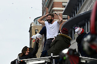 February 4, 2015 - Boston, Massachusetts, U.S. - New England Patriots wide receiver Julian Edelman (11) celebrates on the back of a duck boat during a parade held in Boston to celebrate the team's victory over the Seattle Seahawks in Super Bowl XLIX. Eric Canha/CSM