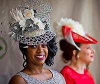 LOUISVILLE, KENTUCKY - MAY 03: Fans show off  fashionable hat during Kentucky Derby and Oaks preparations at Churchill Downs on May 3, 2017 in Louisville, Kentucky. (Photo by Scott Serio/Eclipse Sportswire/Getty Images)