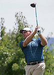 John Rollins tees off on the 10th hole during the Barracuda Championship PGA golf tournament at Montrêux Golf and Country Club in Reno, Nevada on Thursday, July 25, 2019.