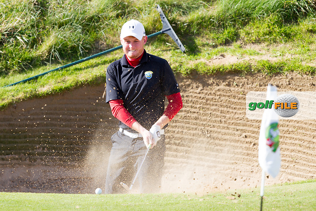 Eanna Griffin (MU) in the 8th green side bunker during round 2 of the Irish Intervarsity Championship, Lahinch Golf Club, Clare, Ireland.  20/10/2016<br /> Picture: Golffile   Fran Caffrey<br /> <br /> <br /> All photo usage must carry mandatory copyright credit (&copy; Golffile   Fran Caffrey)