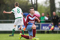 Aaron Connolly (At age 14) of Mervue United U14 reacts after a chance to score.<br /> <br /> 18/5/14, Mervue United v St. Francis, U14 SFAI Goodson Cup Final, Jackson Park, Dublin.