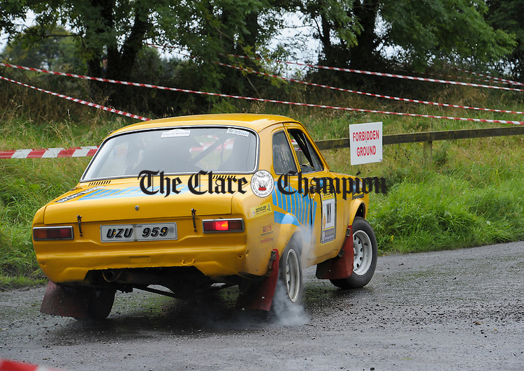 Denis Collins and Tommy Commane who won the historic section, in action during Stage 3 of the Clare Stages Rally at Ruan. Photograph by John Kelly.