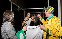 Rotterdam, Netherlands, 11 februari, 2018, Ahoy, Tennis, ABNAMROWTT, Tennis Plaza, Dimitrov with fans<br /> Photo: Henk Koster/tennisimages.com