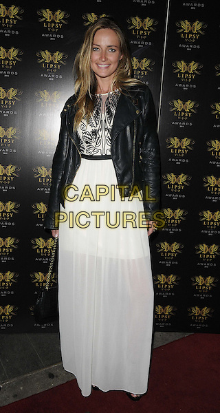 guest<br /> The Lipsy VIP Fashion Awards 2013, DSTRKT, Rupert St., London, England.<br /> May 29th, 2013<br /> full length white dress sheer black leather jacket <br /> CAP/CAN<br /> &copy;Can Nguyen/Capital Pictures