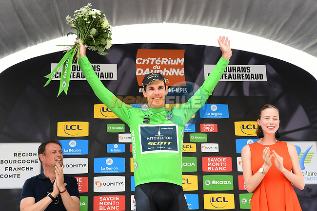 Daryl Impey (RSA) Mitchelton-Scott retains the points Maillot Vert at the end of Stage 3 of the 2018 Criterium du Dauphine 2018 a Team Time Trial running 35km from Pont de Vaux to Louhans Chateaurenaud, France. 6th June 2018.<br /> Picture: ASO/Alex Broadway | Cyclefile<br /> <br /> <br /> All photos usage must carry mandatory copyright credit (© Cyclefile | ASO/Alex Broadway)