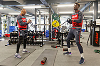 (L-R) Andre Ayew and Tammy Abraham exercise in the gym during the Swansea City Training Session and Press Conference at The Fairwood Training Ground, Wales, UK. Thursday 29 March 2018