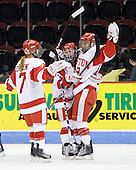 Lauren Cherewyk (BU - 7), Jillian Kirchner (BU - 18) and Jenelle Kohanchuk (BU - 19) celebrate Kohanchuk's goal, her tenth of the year. - The Boston University Terriers defeated the Providence College Friars 5-3 on Saturday, November 14, 2009, at Agganis Arena in Boston, Massachusetts.